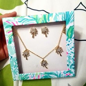 lilly pulitzer palm necklaces and earrings set